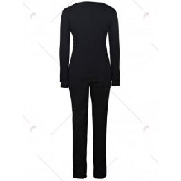 Stylish Jewel Neck Long Sleeves Print Sweatshirt and Pants Suit For Women