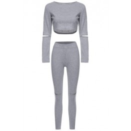Stylish Scoop Neck Long Sleeve Hollow Out Solid Color Crop Top + Skinny Pants Women's Twinset