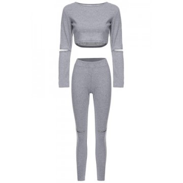 Stylish Scoop Neck Long Sleeve Hollow Out Solid Color Crop Top + Skinny Pants Women s Twinset339887