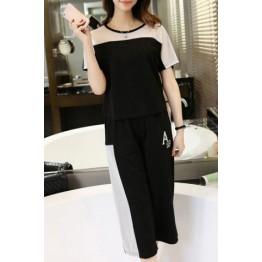 Stylish Short Sleeves Color Block T-Shirt + Paggy Capri Pants Women's Twinset