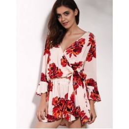 Charming V Neck 3/4 Sleeve Floral Print Loose Self-Tie Wrap Romper For Women