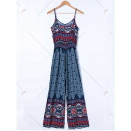 Ethnic Style Printing Adjustable Strap Jumpsuit