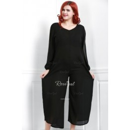 Stylish V-Neck Long Sleeve Cut Out Plus Size Women's Jumpsuit