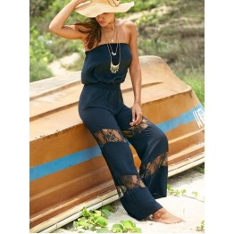 Women's Stylish Strapless Lace Splicing Jumpsuit