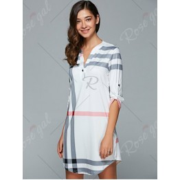 3/4 Sleeve Plaid Shift Dress