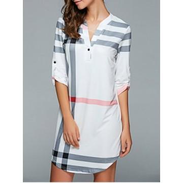 3/4 Sleeve Plaid Shift Dress708455