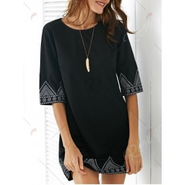 Brief Style Printed Hem A-Line Dress