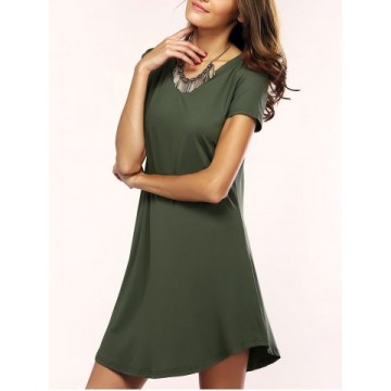 Brief Women s Solid Color Asymmetric T-Shirt Dress595957