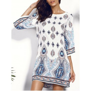 Casual Scoop Neck Floral Print Hollow Out Dress For Women451001