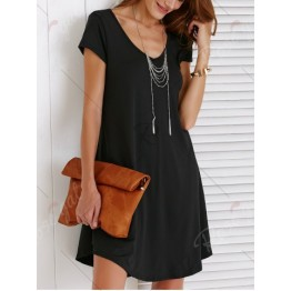 Casual V-Neck Short Sleeve Solid Color Dress For Women