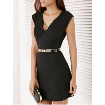 Short Sleeve Hollow Out Dress For Women