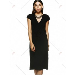 Sophisticated Fitted V-Neck Short Sleeves Dress For Women