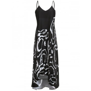Stylish Spaghetti Strap Sleeveless High Low Printed Women s Dress522084