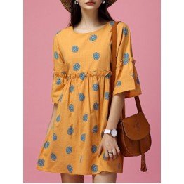 Sweet Bell Sleeves Polka Dot Ruffled Mini Dress For Women