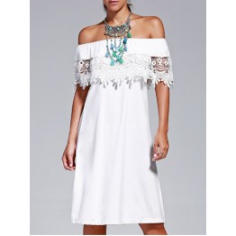 Sweet Off The Shoulder Lace Design Pure Color Dress For Women