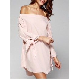 Sweet Women's Off-The-Shoulder Bowknot Loose Dress