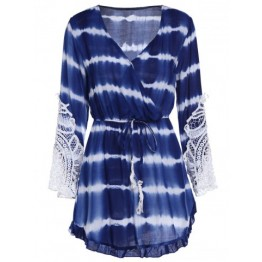 Women's Chic V-Neck Long Sleeve Print A-Line Dress