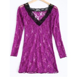 Sexy Lace Plunging Neck Long Sleeve Spliced Women's Babydoll
