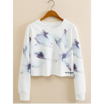 Abstract Ink Panting Cropped Long Sleeve Sweatshirt661062