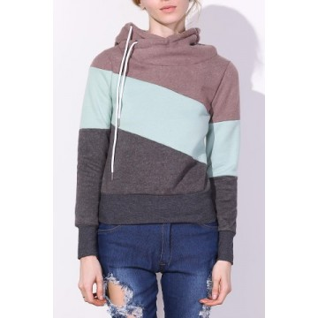 Casual Color Block Long Sleeves Hoodie For Women226228