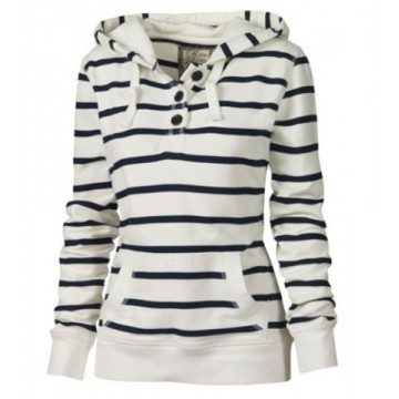Casual Style Hooded Long Sleeve Striped Pocket Design Women's Pullover Hoodie