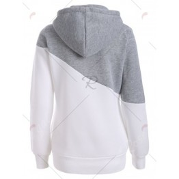 Color Spliced Pullover Loose Hoodie