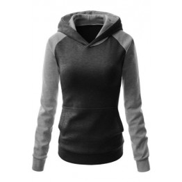 Fashion Hooded Long Sleeve Color Block Women's Pullover Hoodie