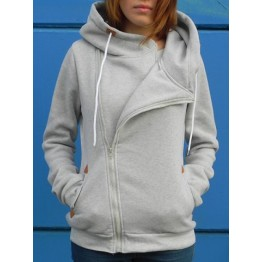 Novlety Irregular Hooded Skew Zippered Hoodie For Women