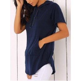 Short Sleeve Pocket Design Solid Color Hoodies