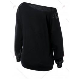 Skew Neck Witches Print Halloween Sweatshirt