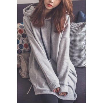 Stylish Hooded Long Sleeve Loose Fitting Pocket Design Women's Hoodie