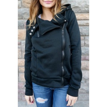 Stylish Hooded Long Sleeve Zippered Slimming Women s Hoodie227161