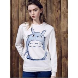 Stylish Women's Round Neck Cartoon Pattern Long Sleeve Sweatshirt