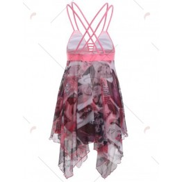 Alluring Criss-Cross Beauty Print High Low One-Piece Swimsuit