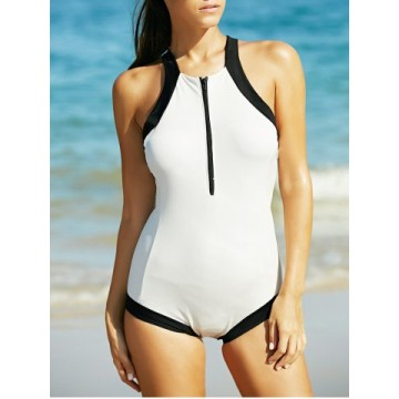 Alluring Hit Color Criss Cross Backless Zippered Women s Swimwear624024