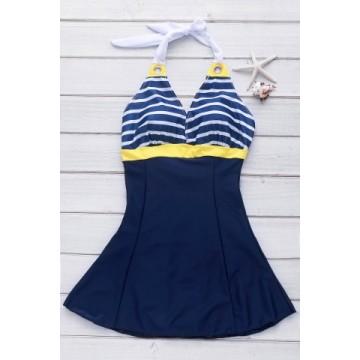 Backless Sleeveless V-Neck Self-Tie Design Striped Women s Swimwear146417