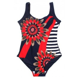 Chic Floral Pattern Stripe Spliced One-Piece Women's Swimwear