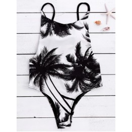 Chic Spaghetti Strap Coconut Tree Print Backless Women's Swimwear