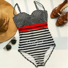 Women's Trendy Spaghetti Strap Polka Dot Striped One Piece Swimwear