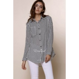 Chic Shirt Collar Long Sleeve Striped Women's Shirt