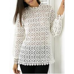 Elegant Round Neck Long Sleeve Lace Blouse