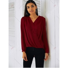 Elegant V-Neck Long Sleeve Loose-Fitting Solid Color Shirt