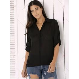 Fashion Long Sleeve Pure Color Chiffon Loose Shirt