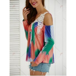 Tie-Dye Cut Out Lace Splicing Blouse