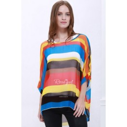 Trendsetter Colorful Stripe Print Asymmetric Batwing Sleeve Women's Summer Blouse