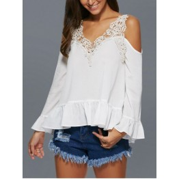 V Neck Lace Spliced Crochet Hollow Out Blouse