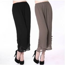 fashion New middle-aged women's summer pants chiffon pants wide leg pants loose capris